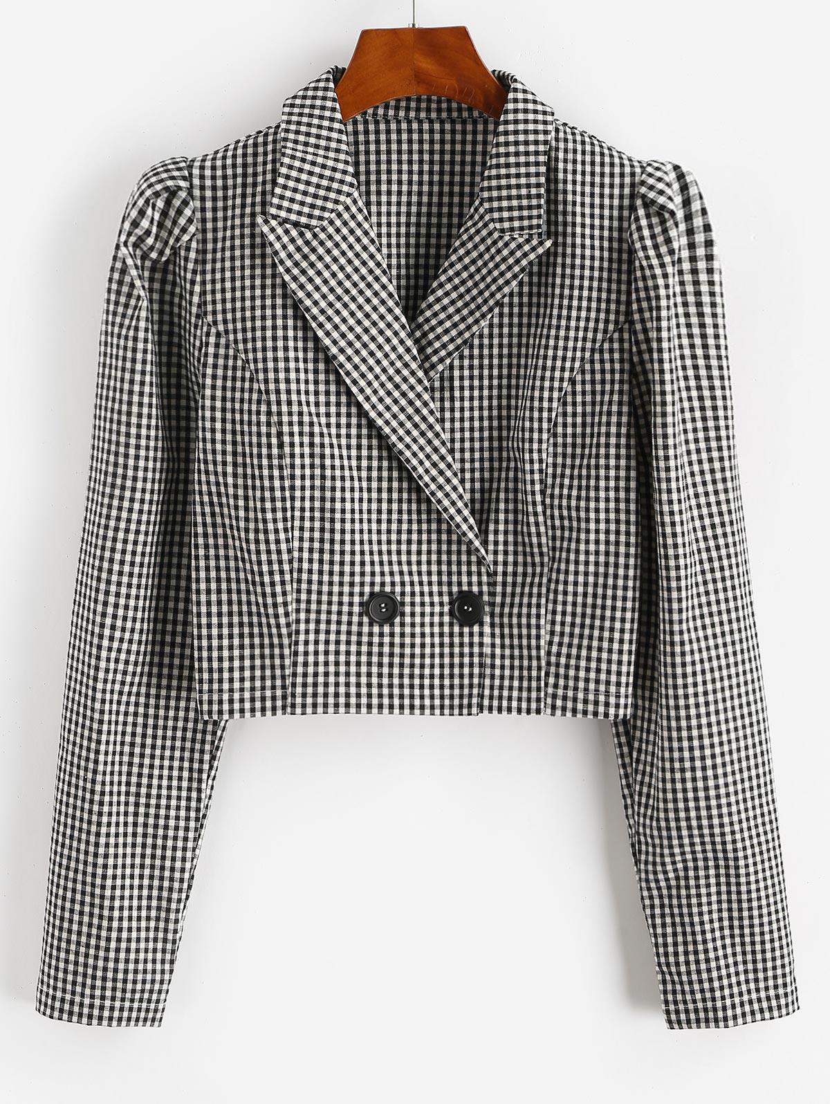 Gingham Puff Sleeve Notch Lapel Blazer