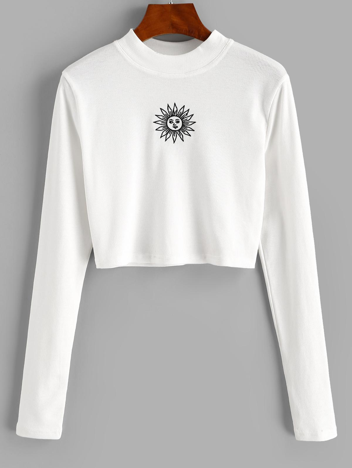ZAFUL Crew Neck Sun Embroidered Crop Top