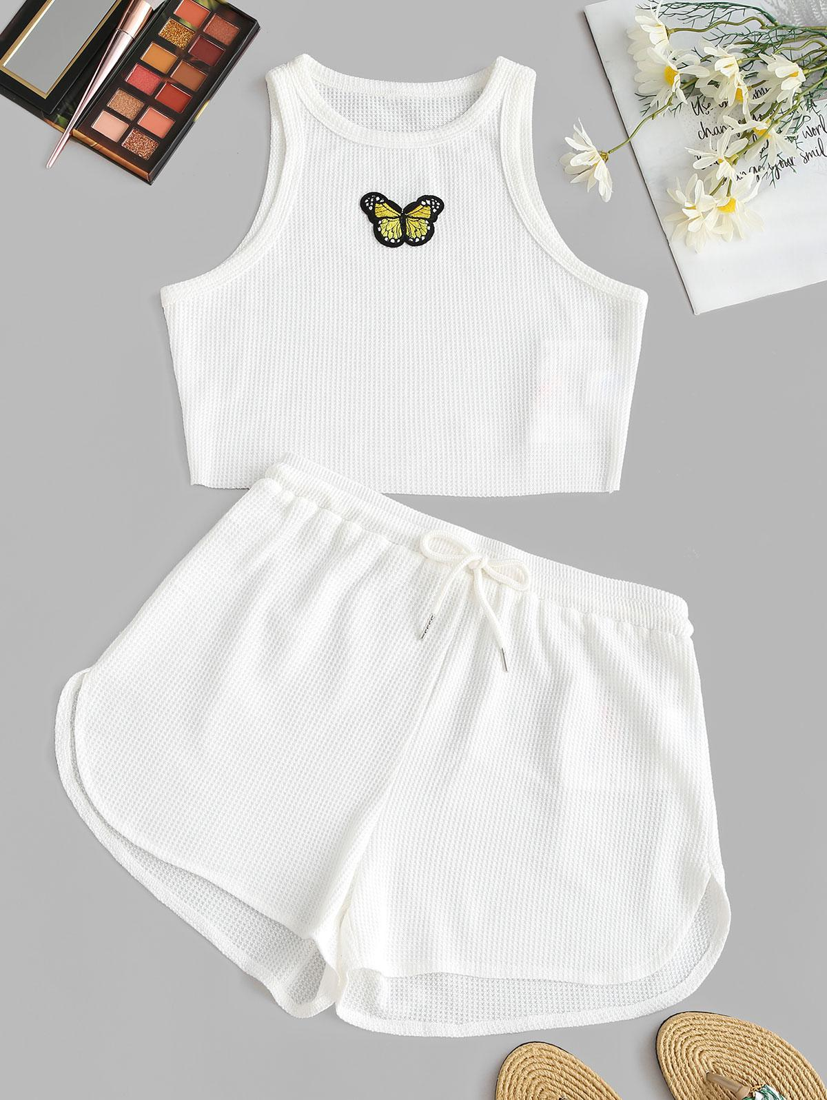 ZAFUL Butterfly Crop Top and Shorts Set