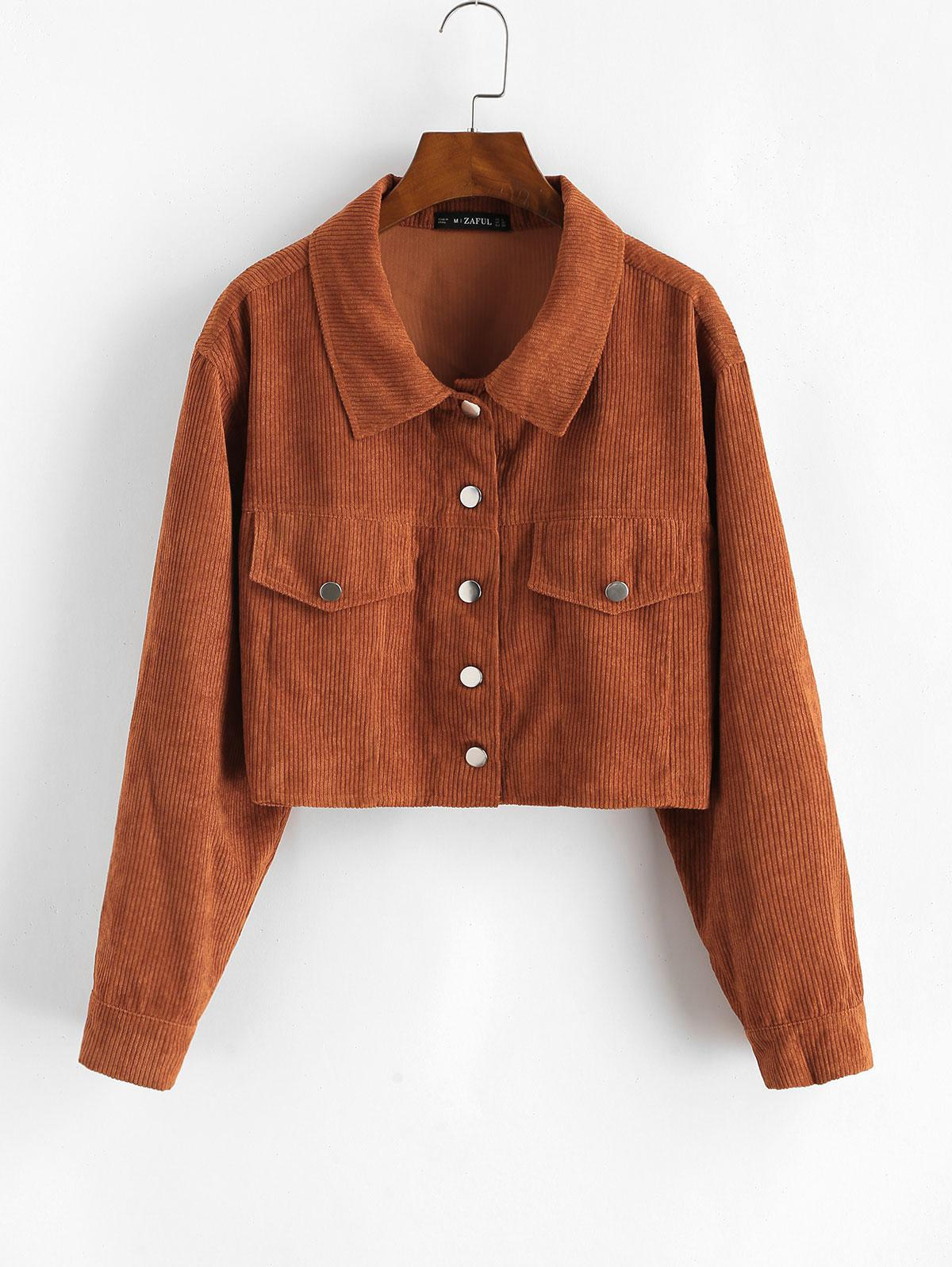 ZAFUL Corduroy Flap Detail Single Breasted Jacket