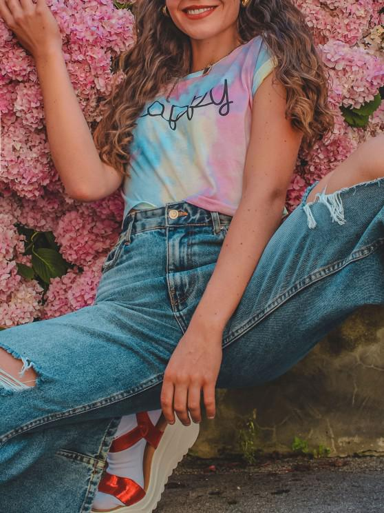 outfits Cuffed Sleeve Happy Graphic Tie Dye Tee - MULTI-A M
