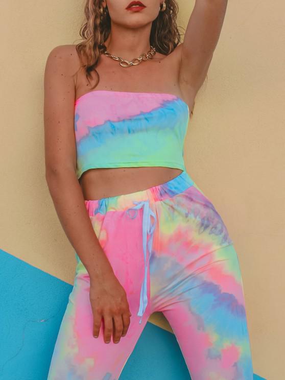 trendy Tie Dye Bandeau Drawstring Two Piece Set - MULTI S