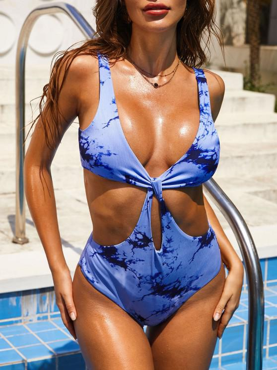 hot ZAFUL Tie Dye Ribbed Cutout Trikini Swimsuit - BLUE L