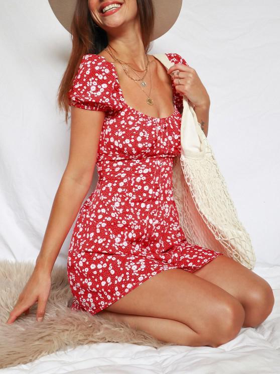 Robe de Laitière Fleurie Imprimée à Manches Bouffantes - Rouge S