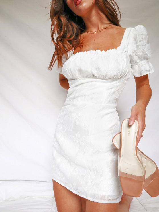 shop Back Zipper Floral Mini Milkmaid Dress - WHITE XL