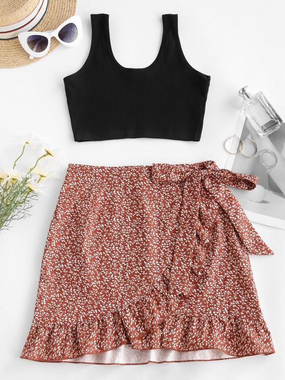 unique Ribbed Ditsy Floral Ruffles Two Piece Dress - RED S