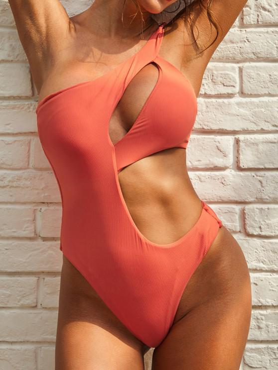 shops ZAFUL Cutout One Shoulder Ribbed One-piece Swimsuit - ORANGE S
