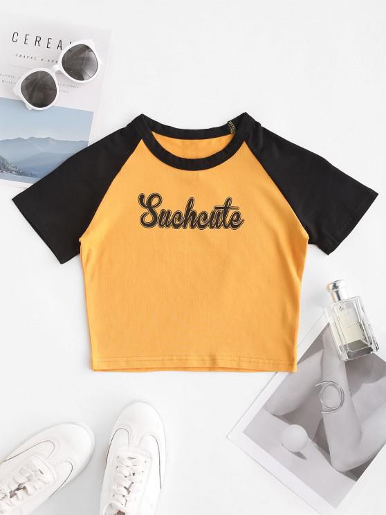 Camiseta com manga raglan estampa geométrica Cortado - Amarelo S