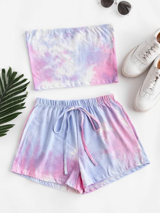 shop Tie Dye Bandeau Two Piece Shorts Set - MULTI S