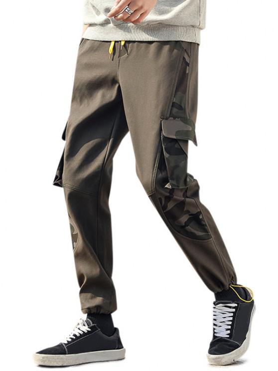 Camouflage Letter Print Toggle Cuff Cargo Pants - الجيش الأخضر M