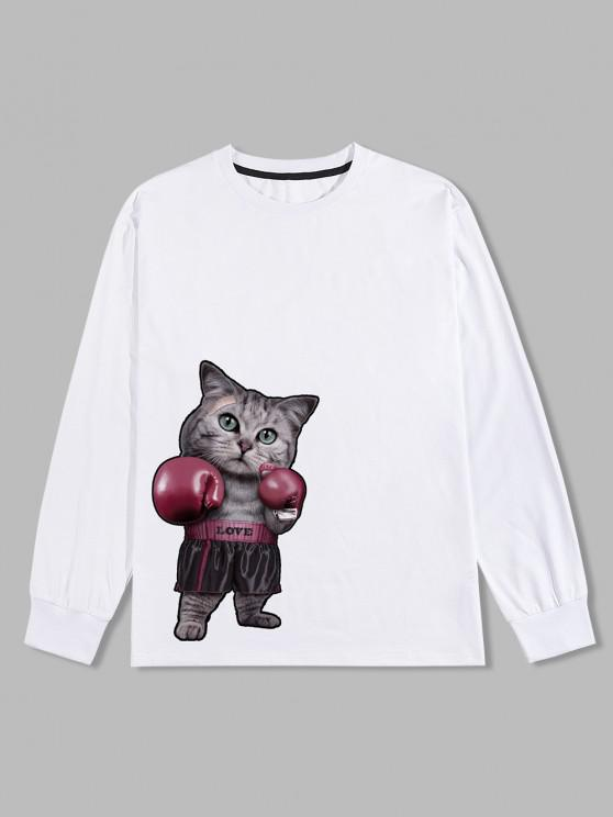 fancy Boxer Cat Graphic Long Sleeve T-shirt - WHITE 2XL
