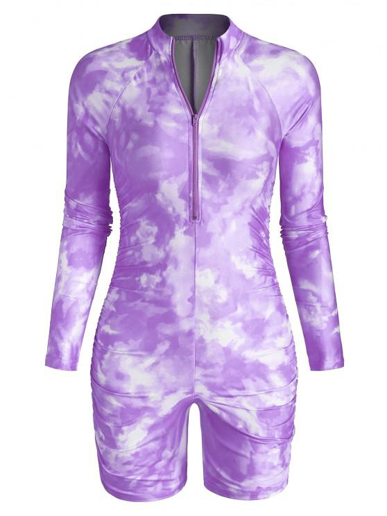 outfits Half Zip Tie Dye Ruched Cycling Romper - PURPLE L