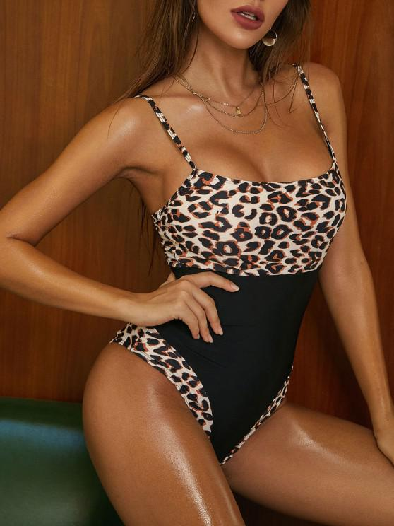 affordable ZAFUL Leopard Insert Cami Open Back One-piece Swimsuit - BLACK S