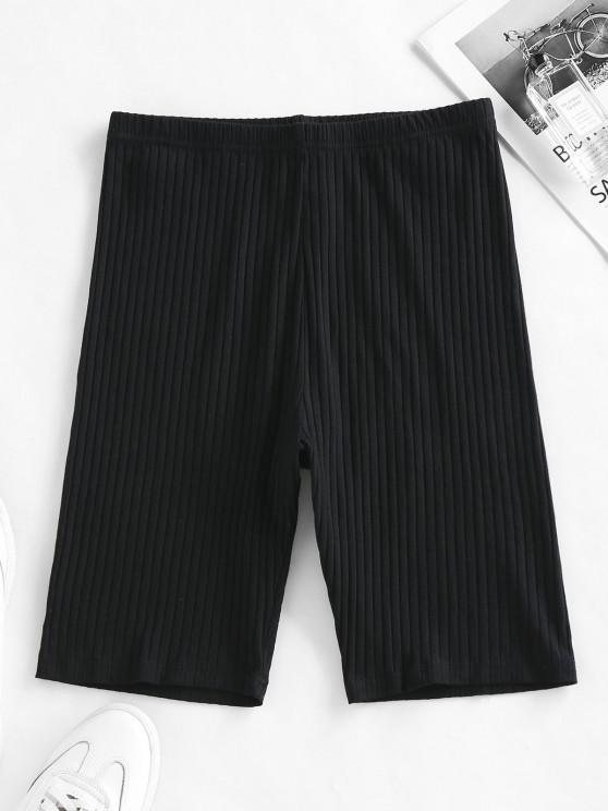 hot ZAFUL Ribbed High Waisted Biker Shorts - BLACK S
