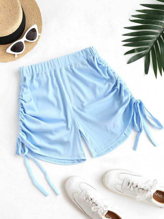 womens Cinched Tie Ruched Pull-on Shorts - LIGHT BLUE S