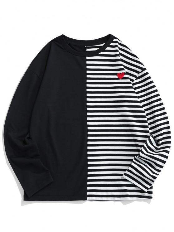 fashion ZAFUL Colorblock Striped Embroidery T-shirt - BLACK 2XL