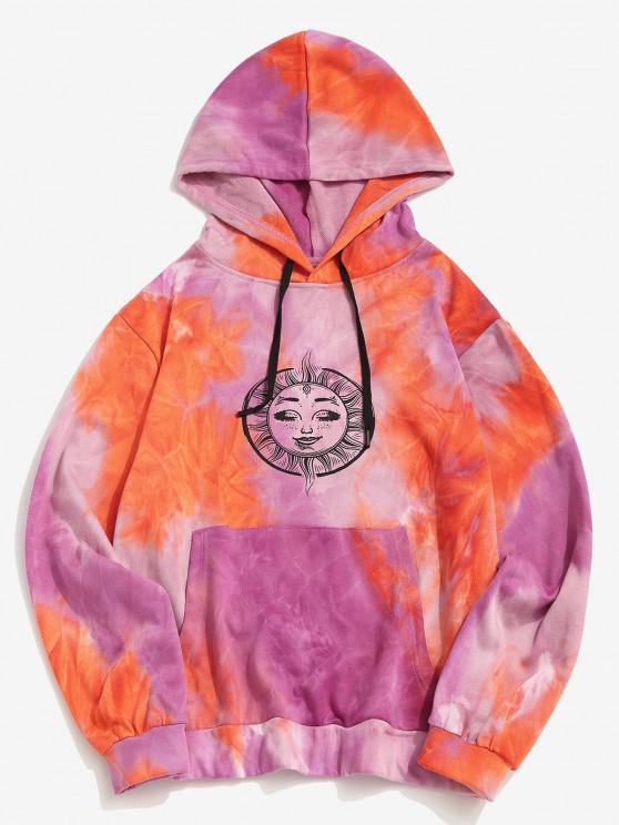 Krawattenfärbende Sonnen Monddruck Känguru Tasche Hoodie - Orange M