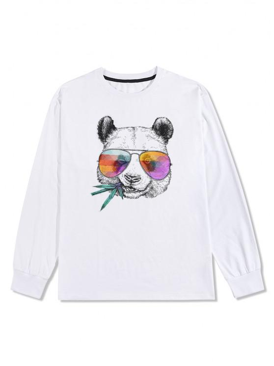 women's Panda with Glasses Graphic Long Sleeve T-shirt - WHITE XL