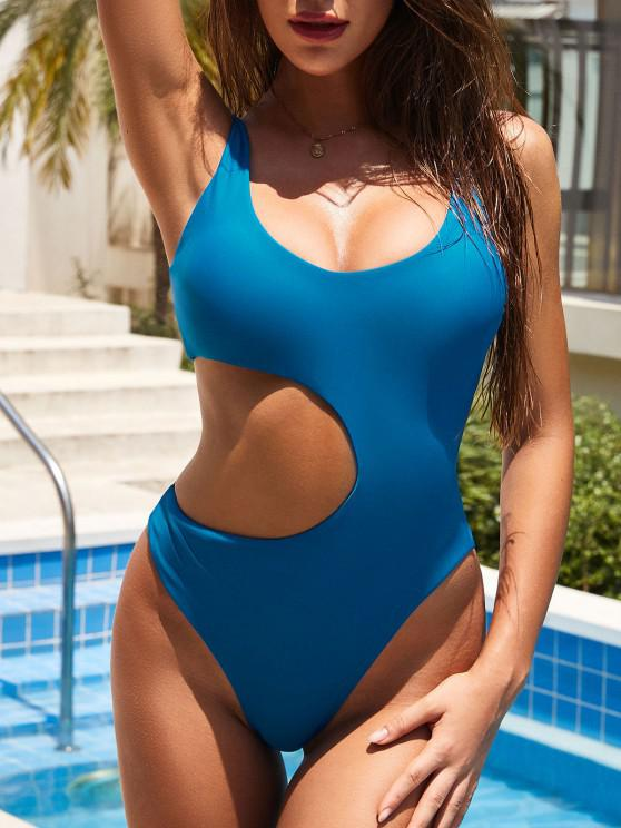 new ZAFUL Scoop Cutout High Leg One-piece Swimsuit - BLUE M