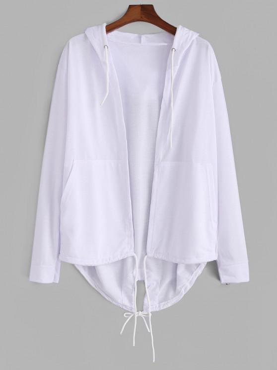 Hooded Front Pocket Dovetail Jacket - أبيض L