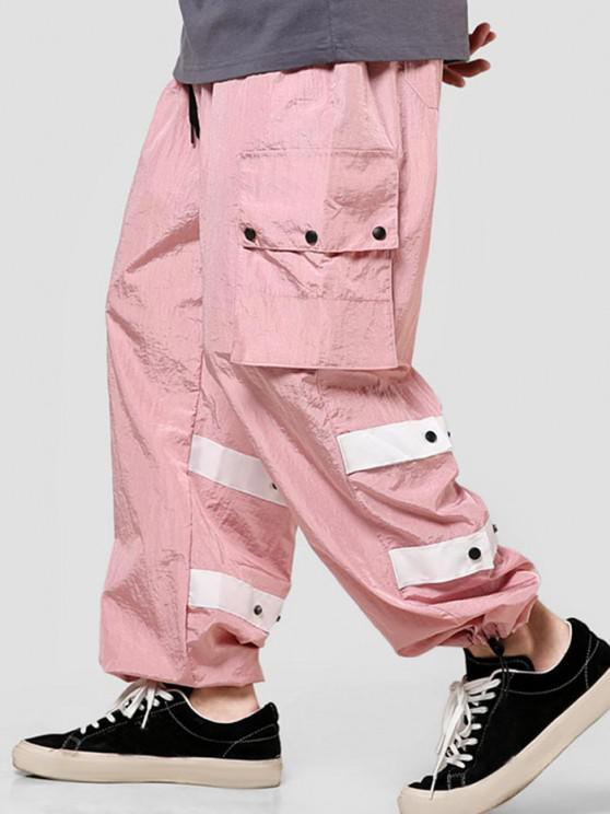 fashion Contrast Striped Flap Pockets Casual Cargo Pants - PIG PINK S