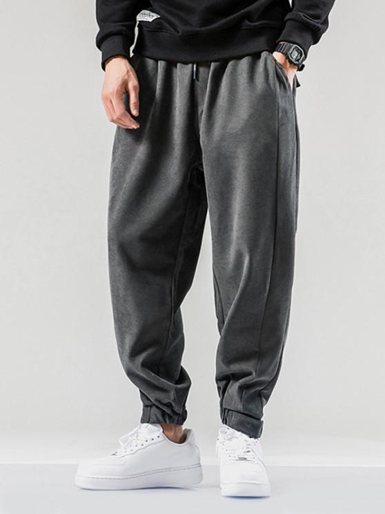 Einfarbige Elastische Taille Jogger Hose - Dunkelgrau XS