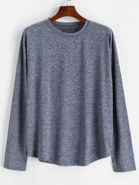 women's Long Sleeve Curved Hem Heathered T-shirt - BLUE S