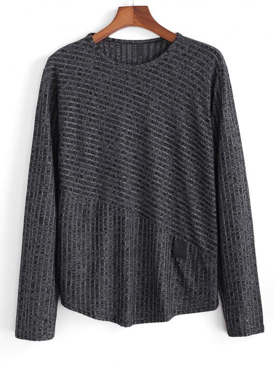 Heathered Ribbed Knit Long Sleeve Top - أسود 3XL