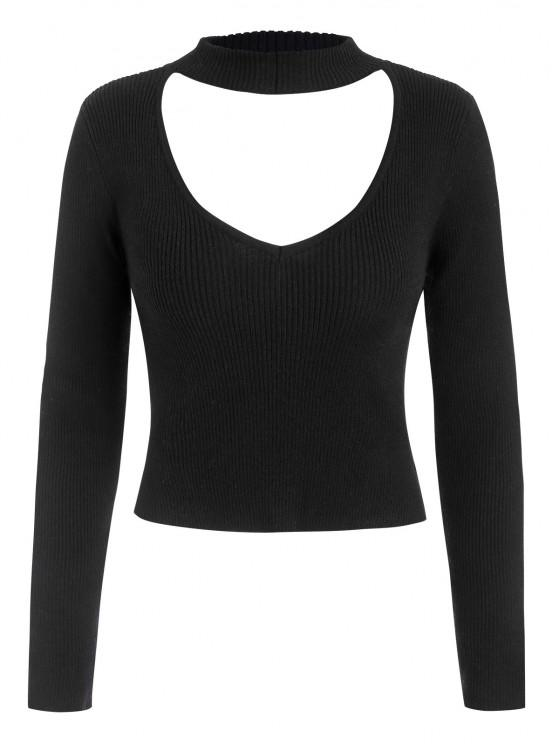 Ribbed Fitted Cutout Choker Sweater - أسود M