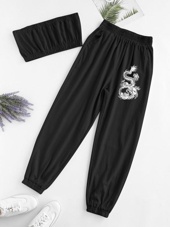 outfits ZAFUL Two Piece Dragon Oriental Bandeau Top Set - BLACK XL