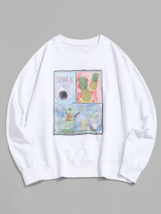 Pineapple Shark Dinosaur Graphic Sweatshirt - أبيض 2XL
