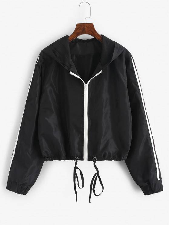 women's Hooded Side Striped Mesh Lining Windbreaker Jacket - BLACK L