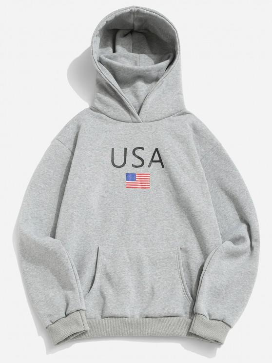 women's American Flag USA Print Fleece Hoodie With Face Warmer - LIGHT GRAY 2XL