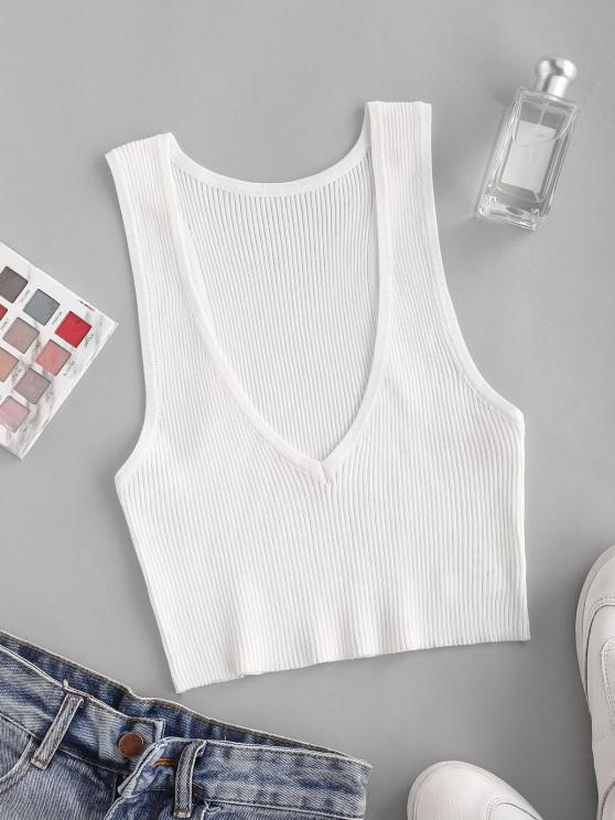 outfit V Neck Cropped Knitted Tank Top - WHITE ONE SIZE