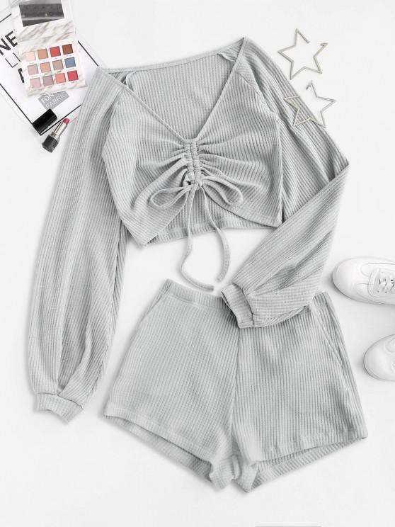 women Colorblock Textured Cinched Raglan Sleeve Pocket Shorts Set - LIGHT GRAY L