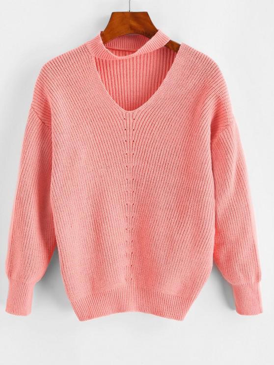 Tropfen Schulter Halsband Pointelle Strick Pullover - Hell-Pink Eine Größe