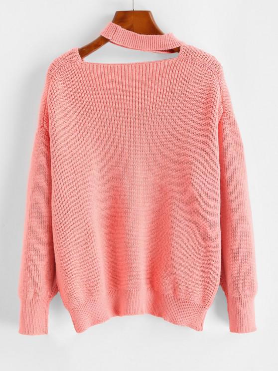 Drop Shoulder Choker Pointelle Knit Sweater - Light Pink   ZAFUL