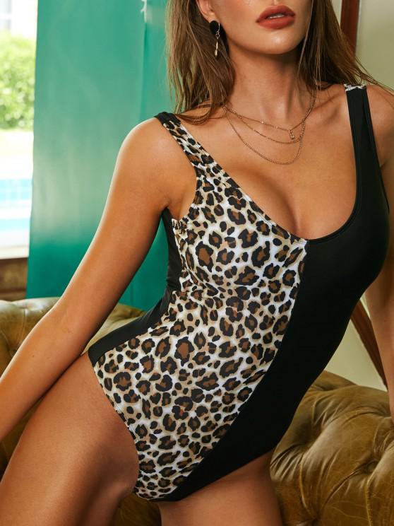 outfit ZAFUL Leopard Colorblock One-piece Swimsuit - COFFEE M