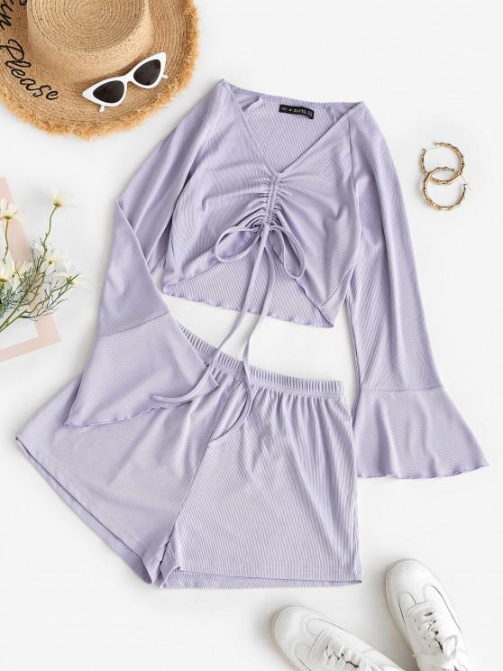 women Ribbed Cinched Flare Sleeve Shorts Set - LIGHT PURPLE L