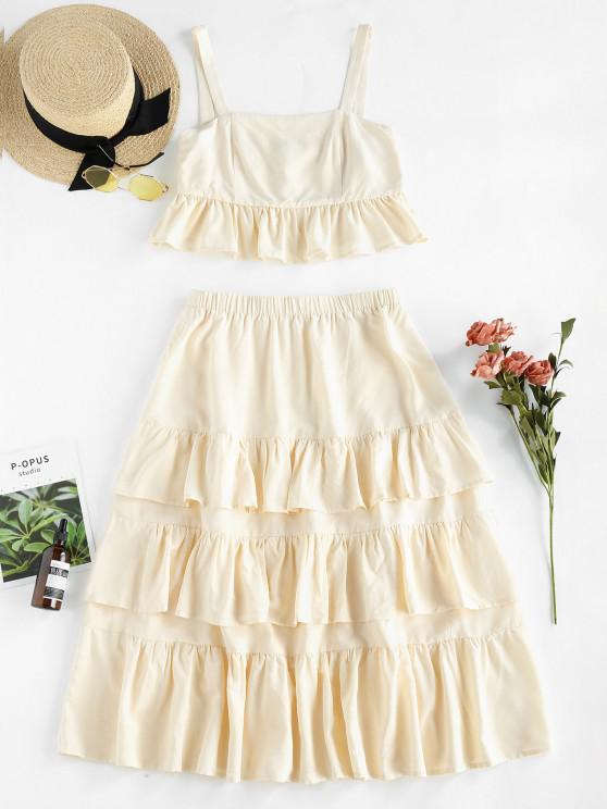 ZAFUL Tiered Ruffle Two Piece Dress - مشمش M