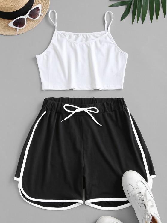 unique Crop Cami Top and Piping Shorts Set - MULTI L