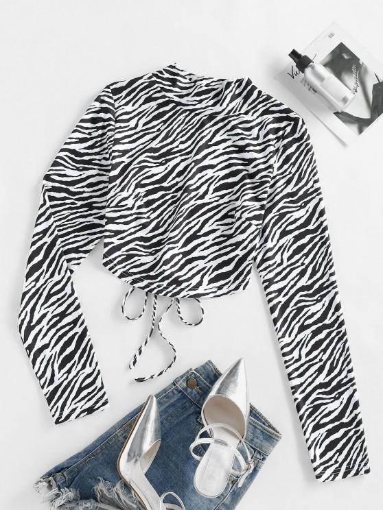 ZAFUL T-shirt de Manga Comprida de Impressão de zebra - Preto XL