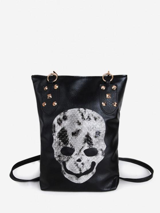 unique Skull Rivet Punk Rectangle Crossbody Bag - BLACK
