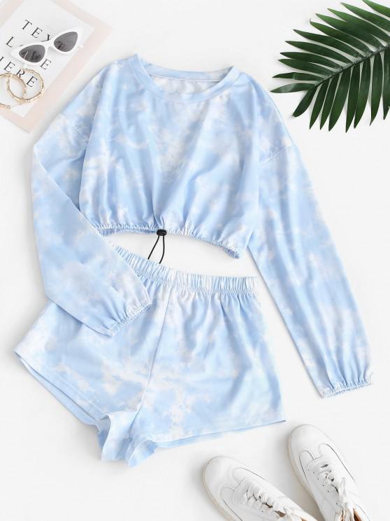 Tie Dye Toggle Drawstring Two Piece Shorts Set - أزرق فاتح S