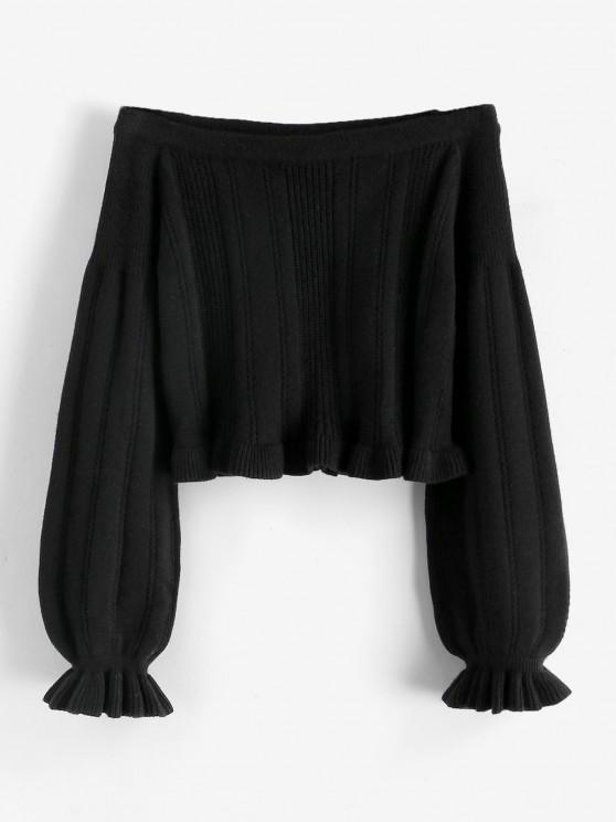 Poet Sleeve Off Shoulder Ruffle Jumper Sweater - أسود M