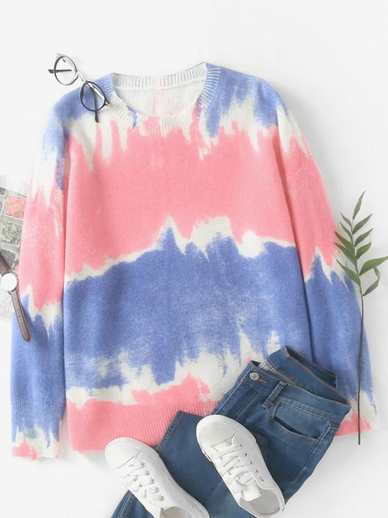 Tie Dye Oversized Sweater - وردي فاتح حجم واحد