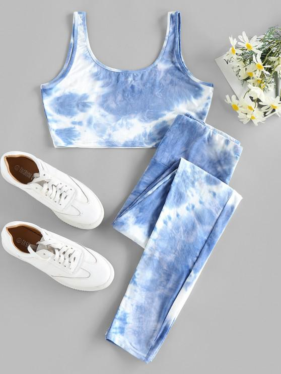 ZAFUL Conjunto Top e Calças de Tintura com Laço - Azul claro L