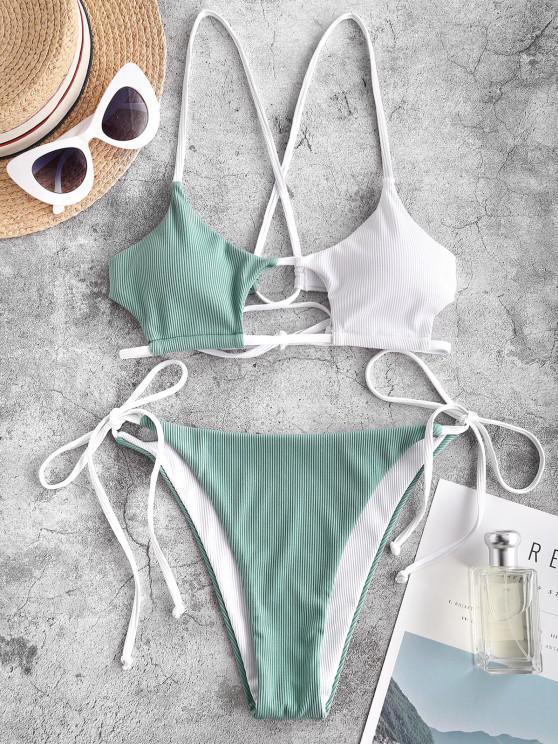 fashion ZAFUL Ribbed Colorblock Cutout String Bikini Swimwear - GREEN S