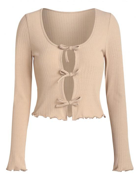 ZAFUL Rib Knit Front Tie Cropped T Shirt - سكر بني XL