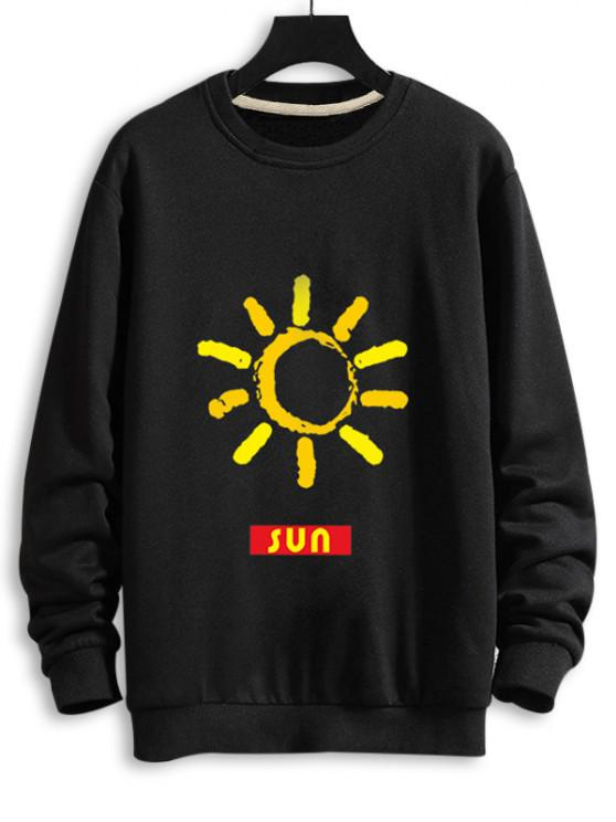 women Sun Graphic Drop Shoulder Casual Sweatshirt - BLACK L